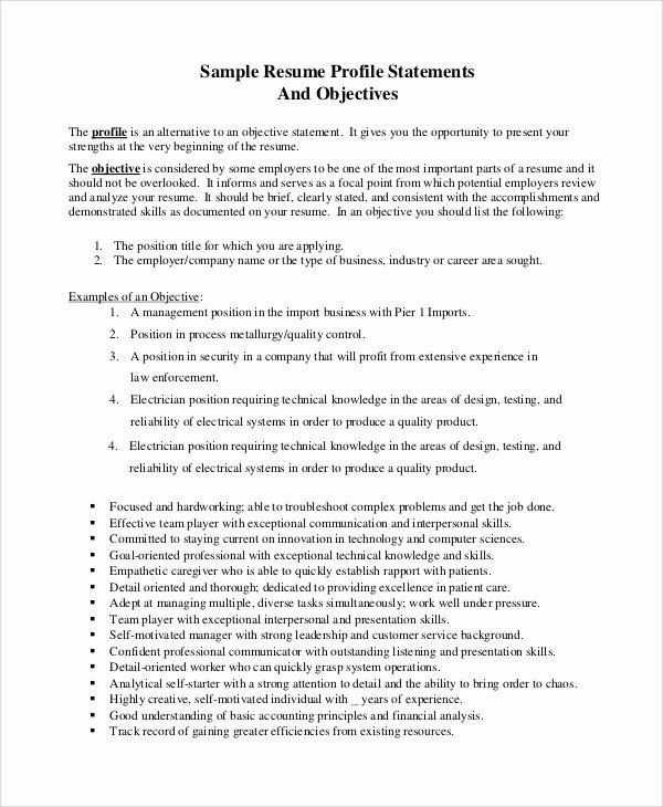 Goal Statement Sample Inspirational Sample Resume Objective 8 Examples In Pdf