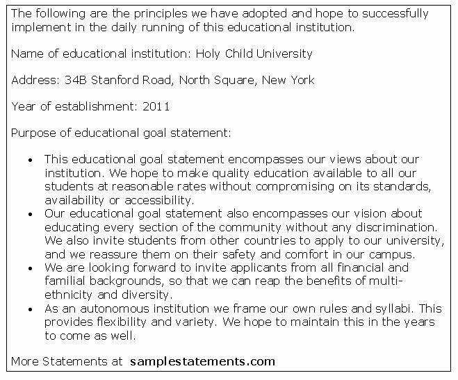 Goal Statement Sample New Education Goal Statement