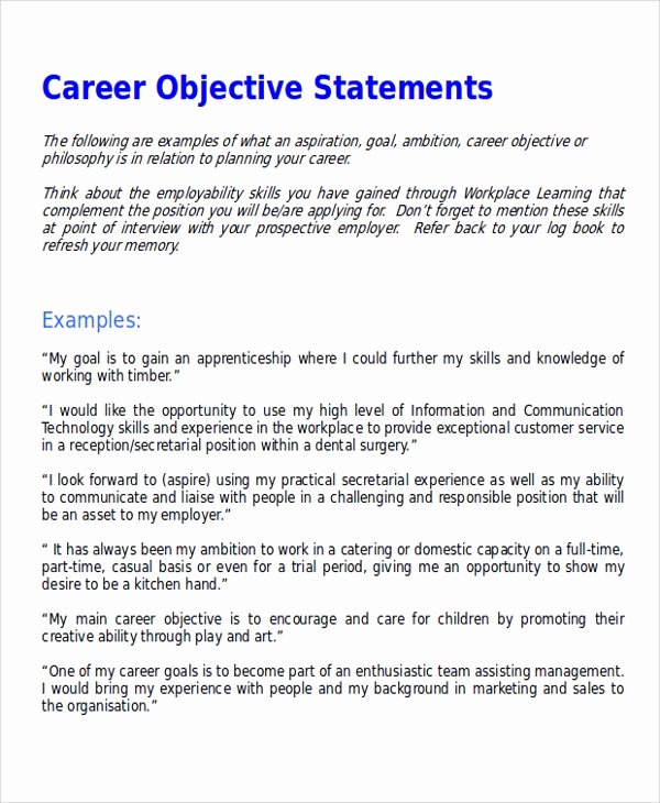 Goal Statement Sample Unique Sample Career Objective Statement 7 Examples In Word Pdf