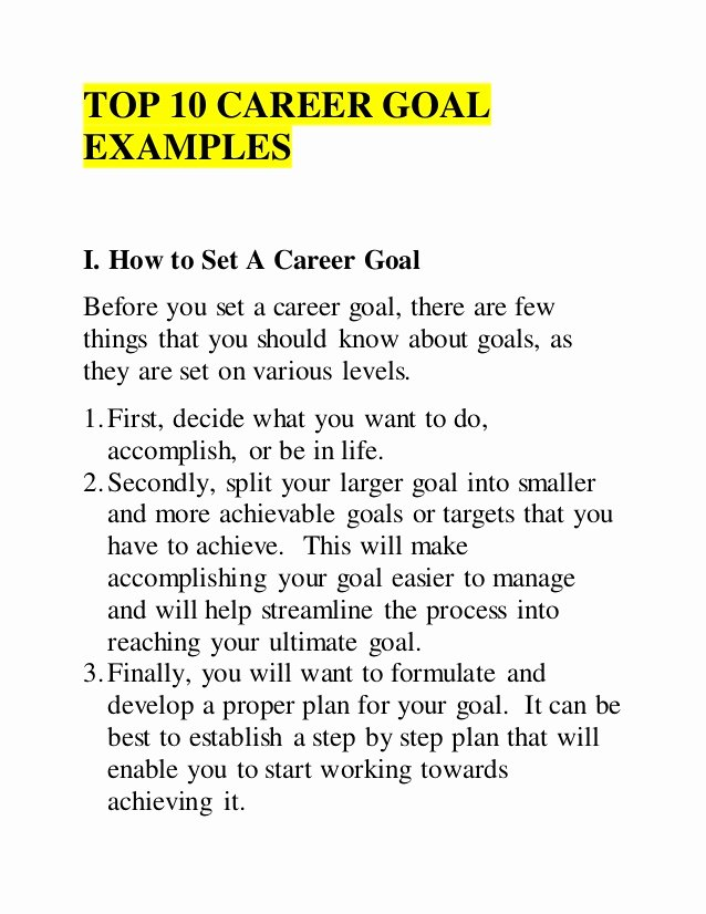 Goals Statement Examples Fresh top 10 Career Goal Examples