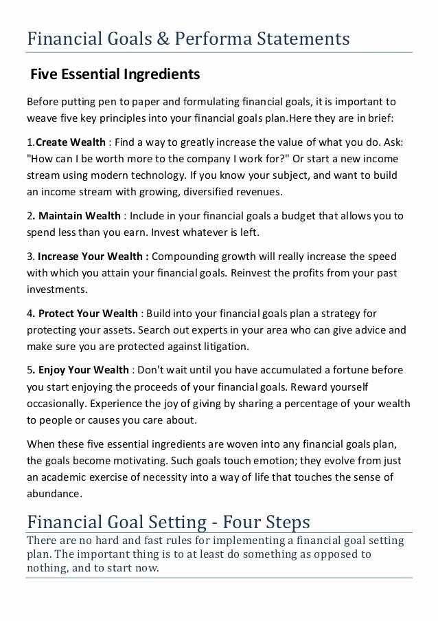 Goals Statement Examples New Financial Goals and Performa Statement