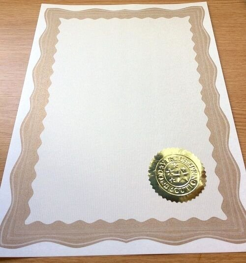 Gold Border Certificate Paper Beautiful 30 A4 Paper Plain Certificates with Gold Border & 30 Gold