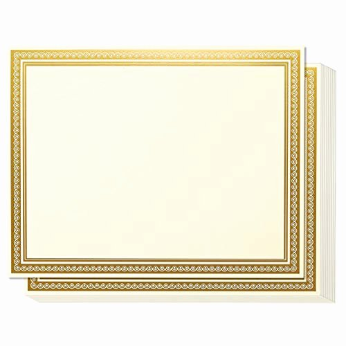 Gold Border Certificate Paper Beautiful Gold Border Amazon