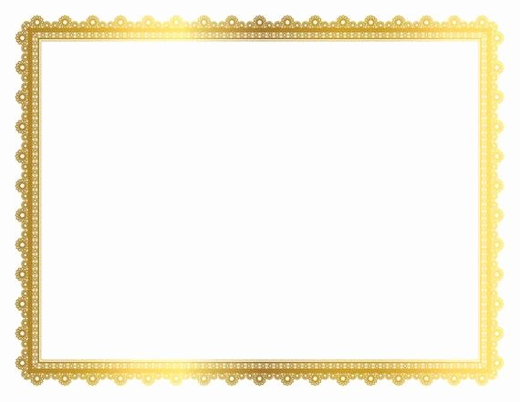 Gold Border Certificate Paper Lovely Gold Decorative Frame Page Border Digital Frame Border