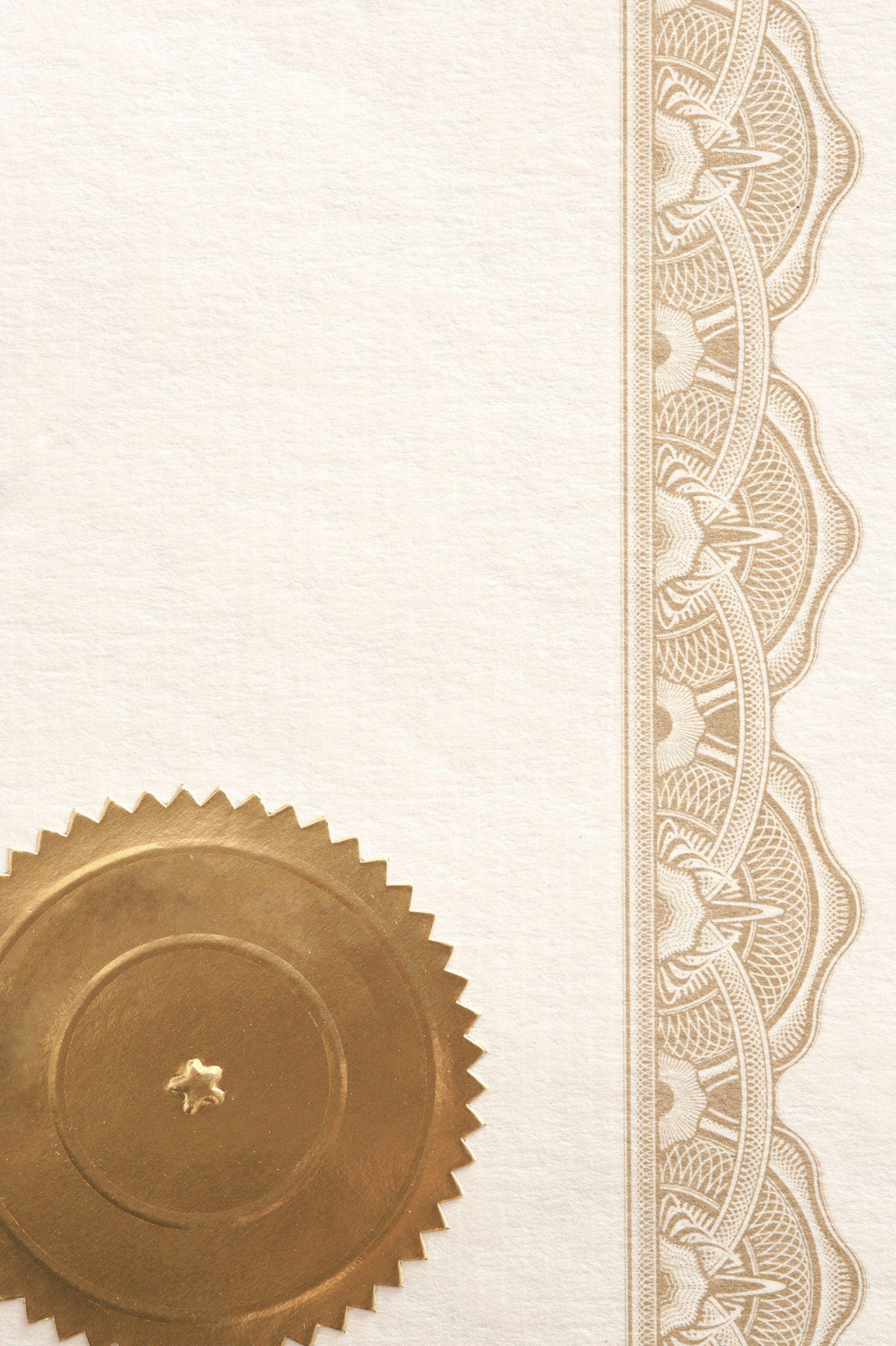 Gold Border Certificate Paper Luxury Certificate Paper Frame
