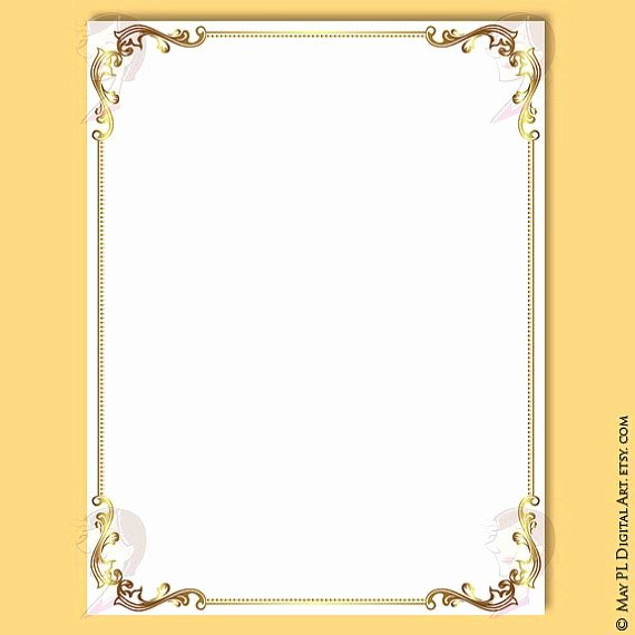 Gold Border Certificate Paper Luxury Document Frames Page Borders 8x11 Gold Floral Foliage Leaf