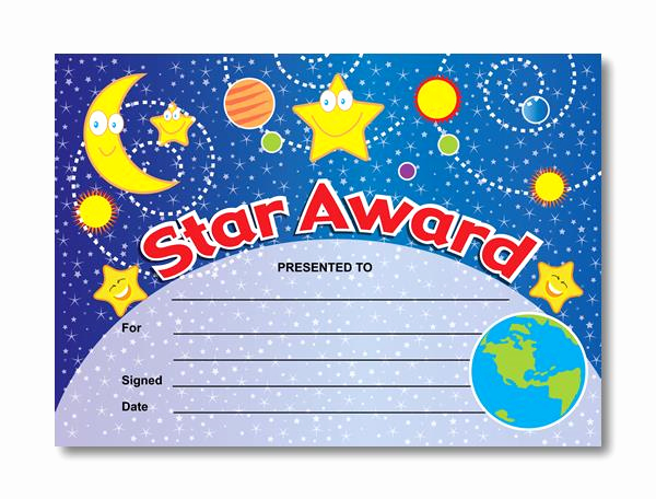 Gold Star Award Template Awesome Certificate Star Award Out Of the World