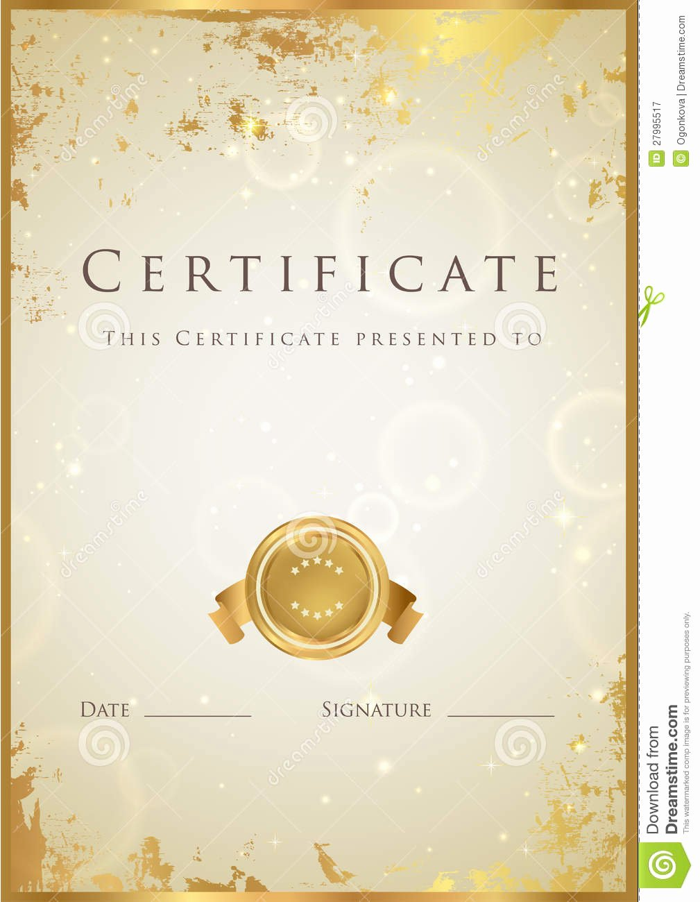 Gold Star Award Template Awesome Gold Certificate Diploma Award Template Pattern Royalty