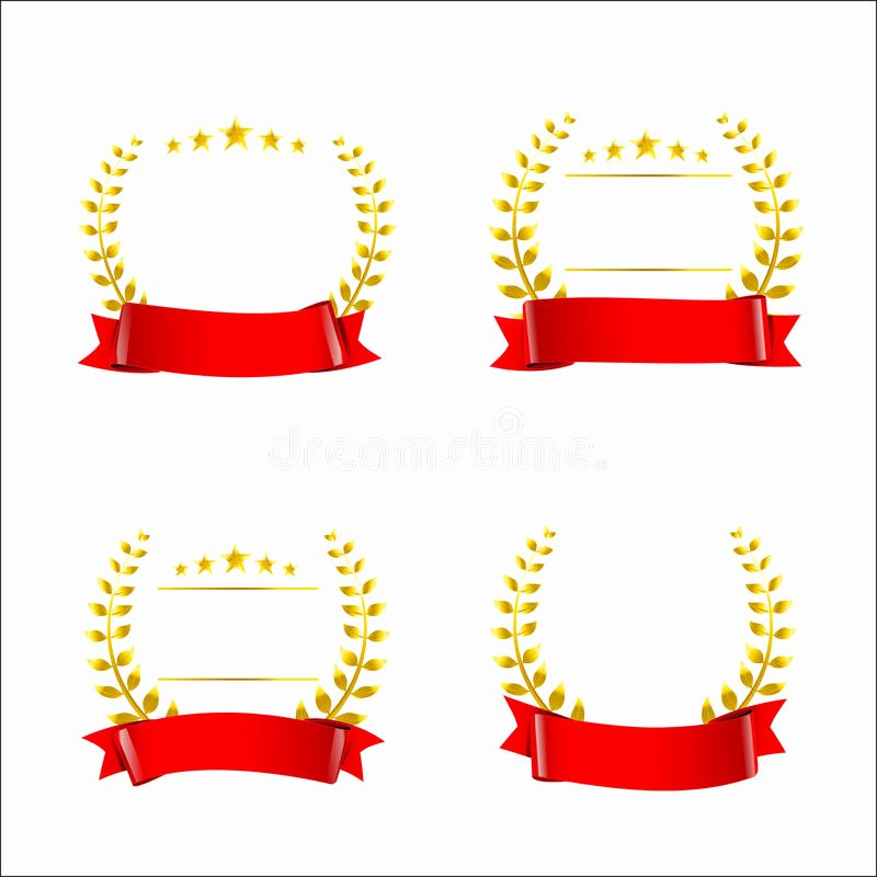 Gold Star Award Template Awesome Set Red Ribbon and Gold Wreaths Blank Award Template