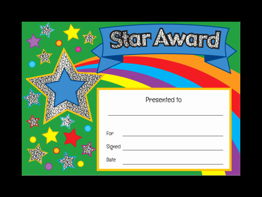 Gold Star Award Template Luxury Star Award Sparkling Certificate