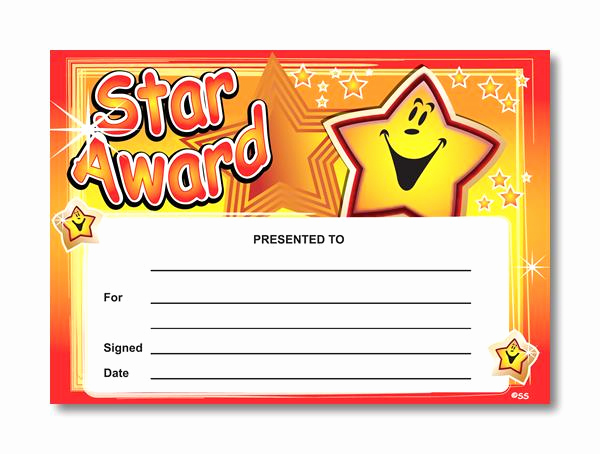 Gold Star Award Template Unique Certificate Star Award