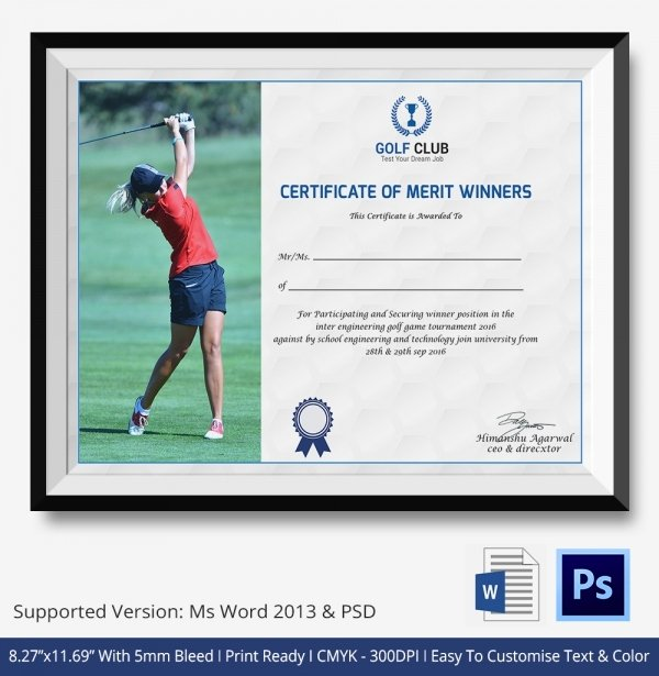 Golf Award Certificate Template Awesome Golf Certificate Template 5 Word Psd format Download