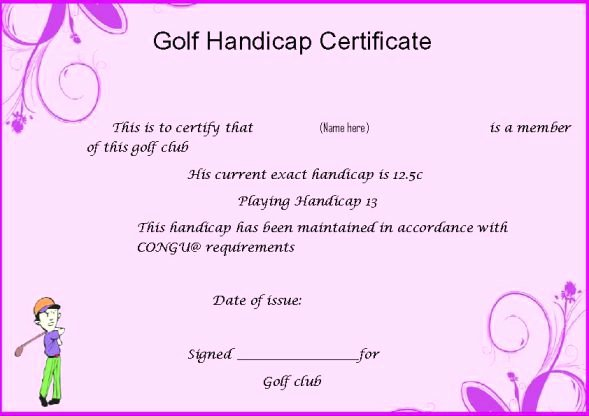 Golf Award Certificate Template Awesome Handicap Certificate Template