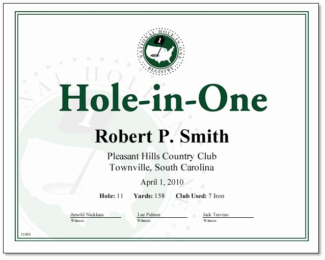 Golf Award Certificate Template Awesome Hole In E Certificate You Print Only $9 99