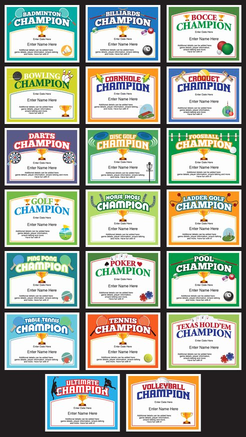 Golf Award Certificate Template Awesome Table Tennis Champion Certificate Free Award Certificates