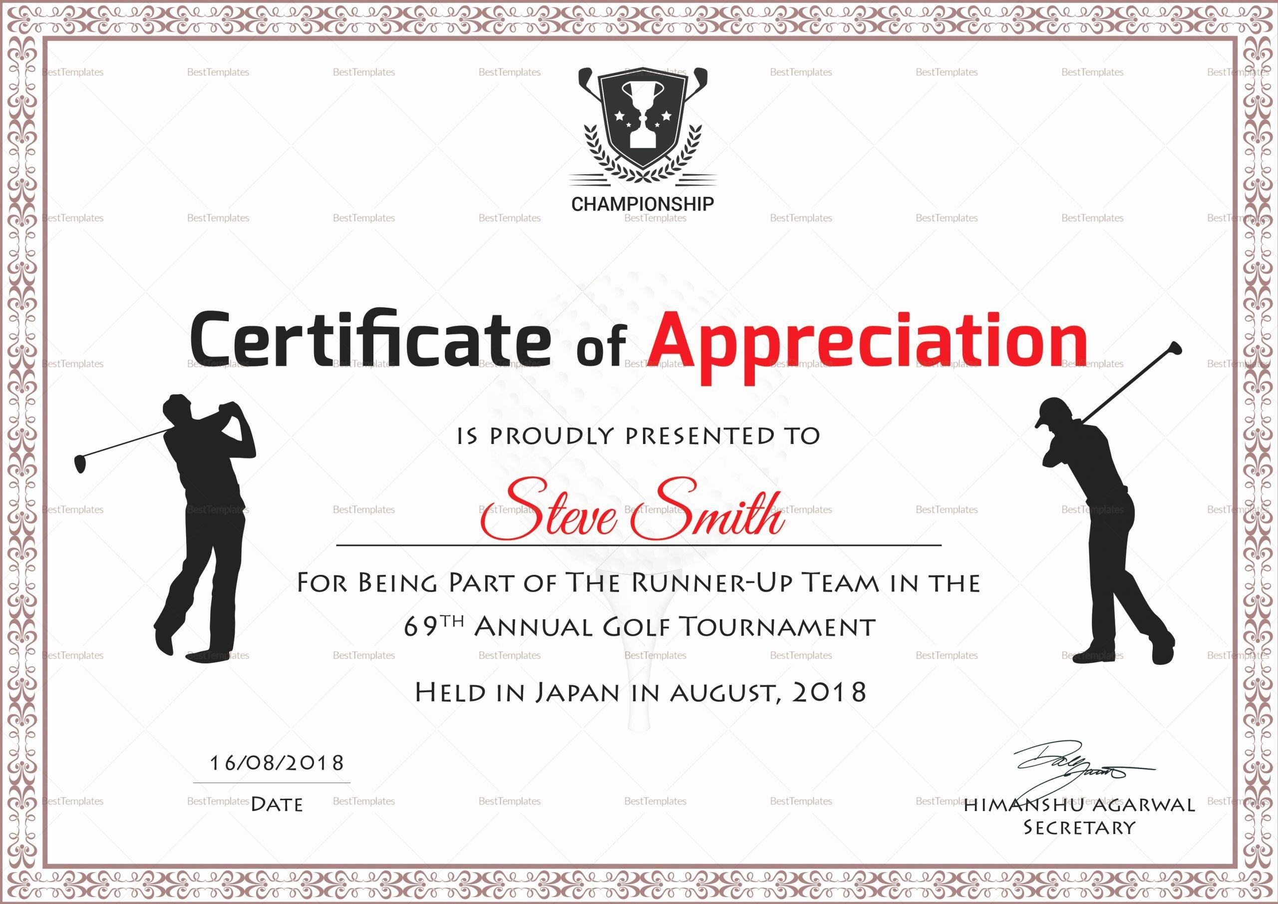 Golf Award Certificate Template Beautiful Golf Appreciation Certificate Design Template In Psd Word