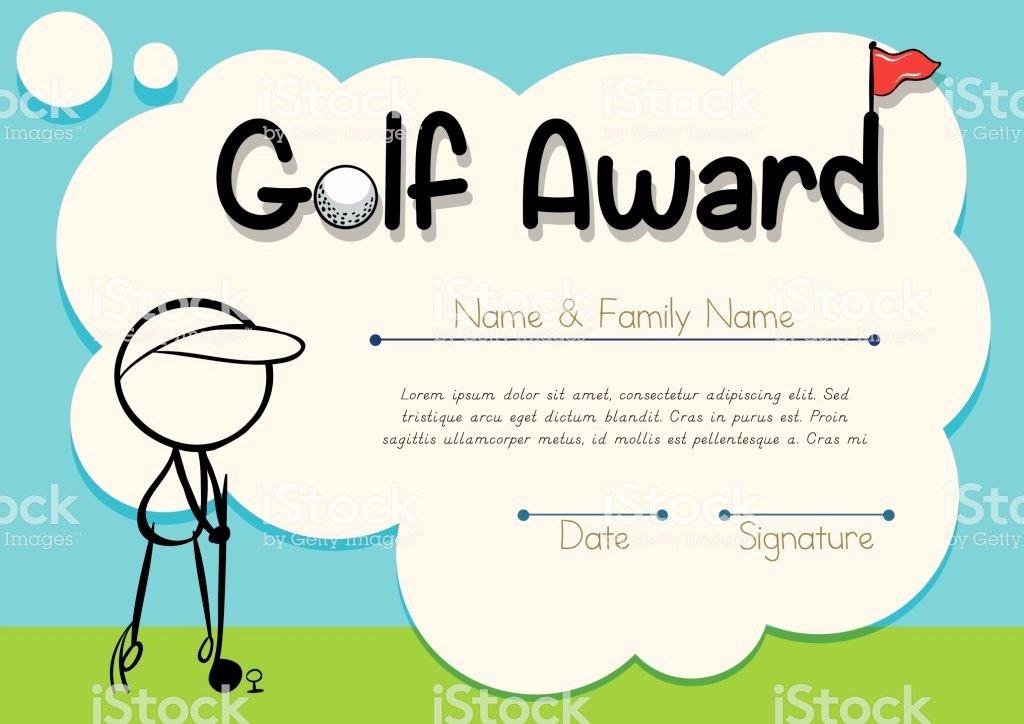 Golf Award Certificate Template Elegant Certificate Template for Golf Award Stock Vector Art