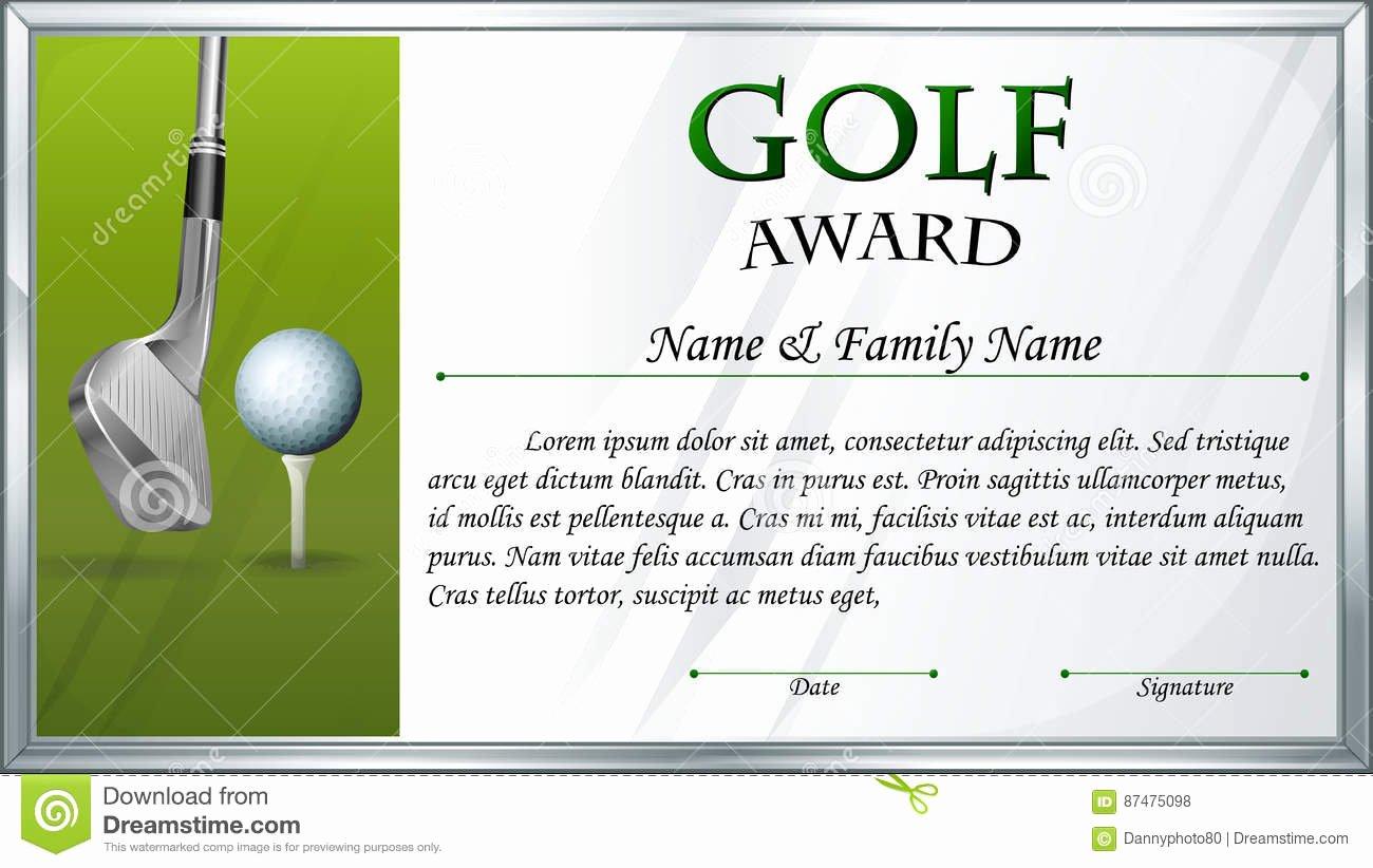 Golf Award Certificate Template Fresh Certificate Template for Golf Award Stock Vector