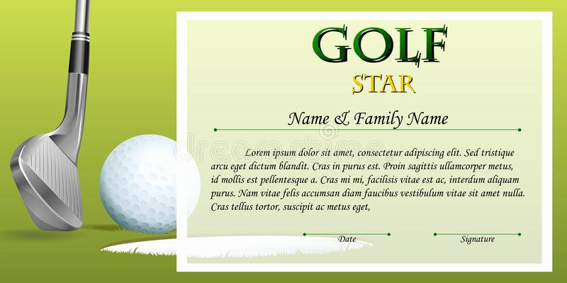 Golf Award Certificate Template Fresh Certificate Template for Golf Star with Green Background