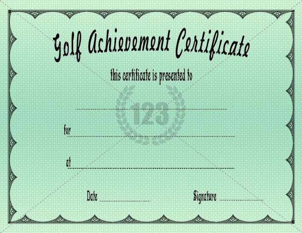 Golf Award Certificate Template Fresh Golf Achievement Certificate Free Premium