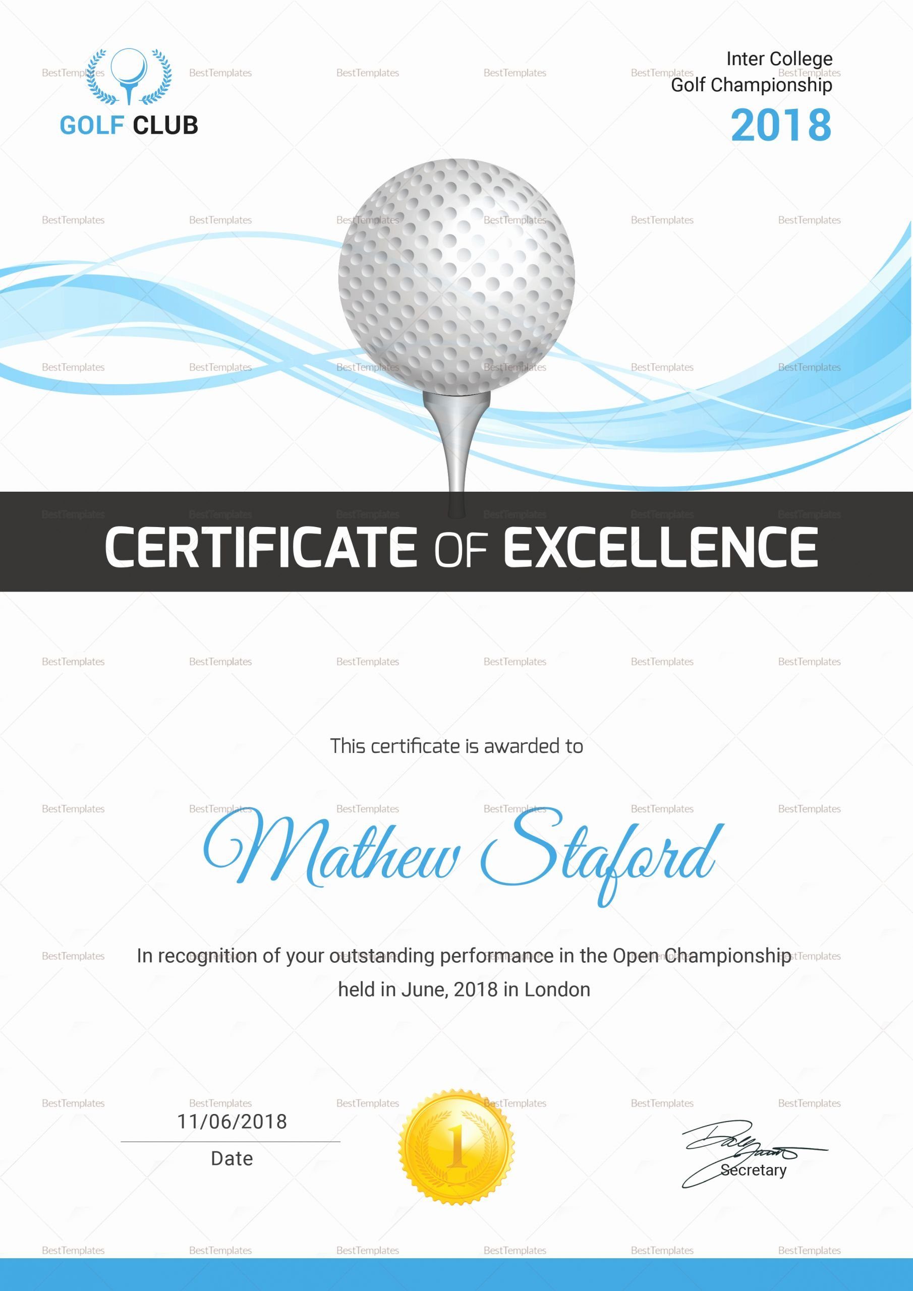 Golf Award Certificate Template Lovely Golf Certificate Design Template In Psd Word