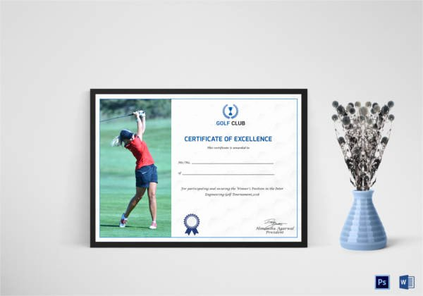Golf Award Certificate Template Unique Golf Certificate Template 9 Word Psd format Download