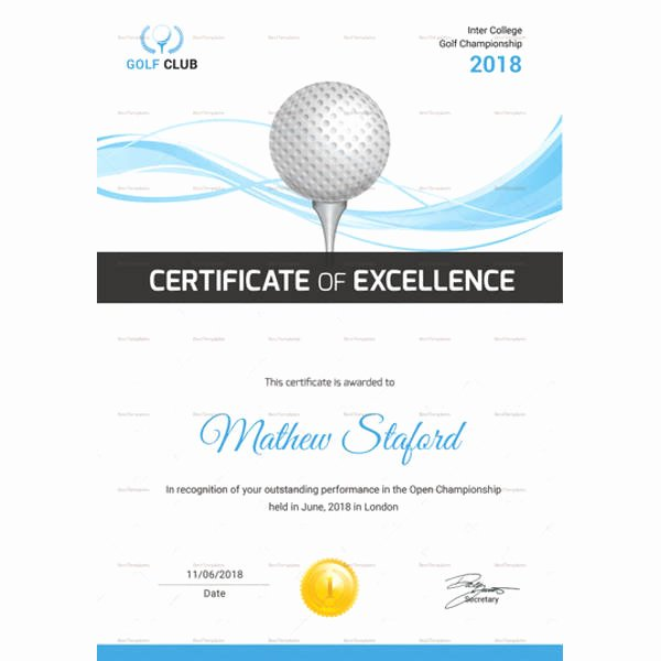 Golf Certificate Templates for Word Awesome Golf Certificate Template 9 Word Psd format Download