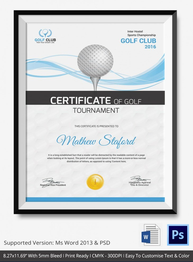 Golf Certificate Templates for Word Elegant 5 Golf Certificates Psd & Word Designs