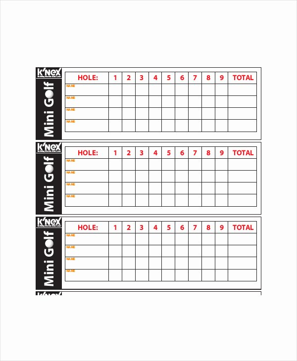 Golf Certificate Templates for Word Lovely Golf Scorecard Template