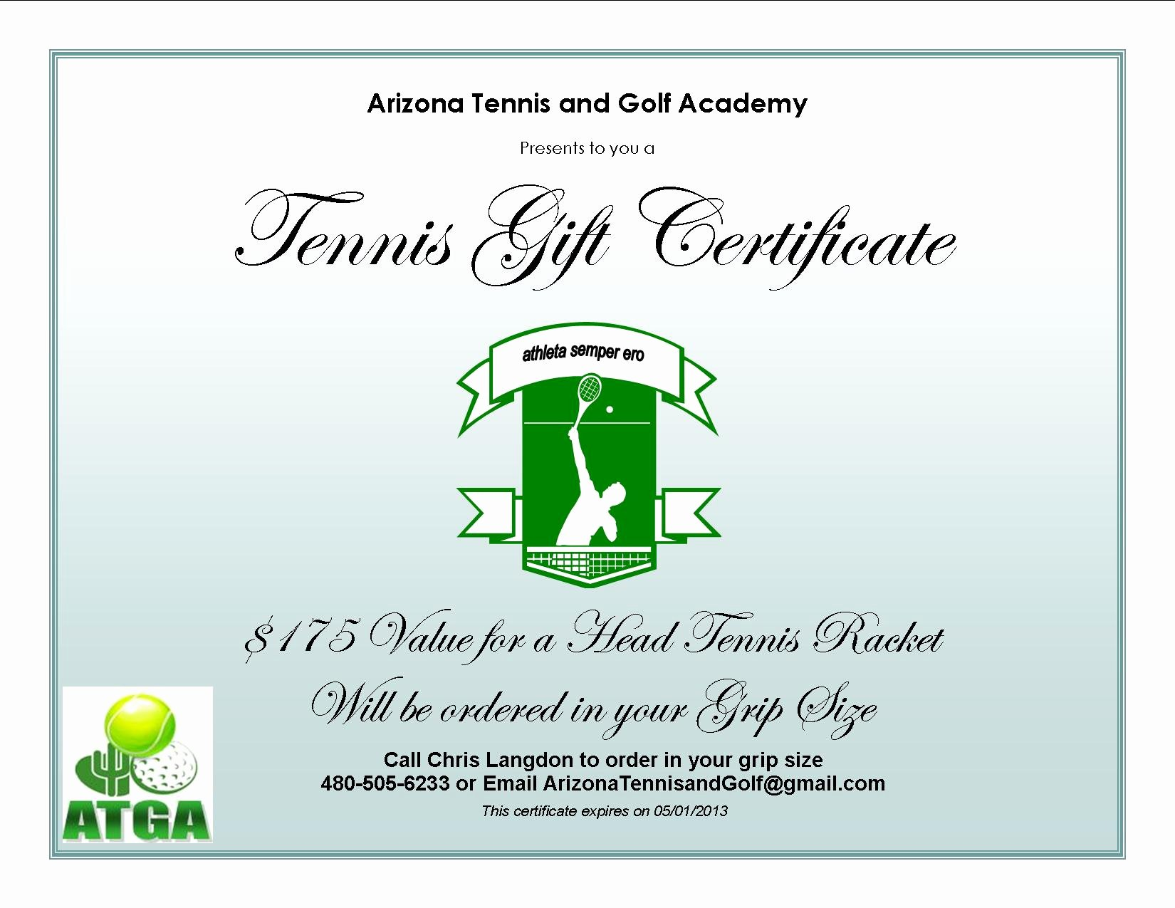 Golf Gift Certificate Template Free Awesome Arizona Tennis and Golf Academy Current Tennis Specials
