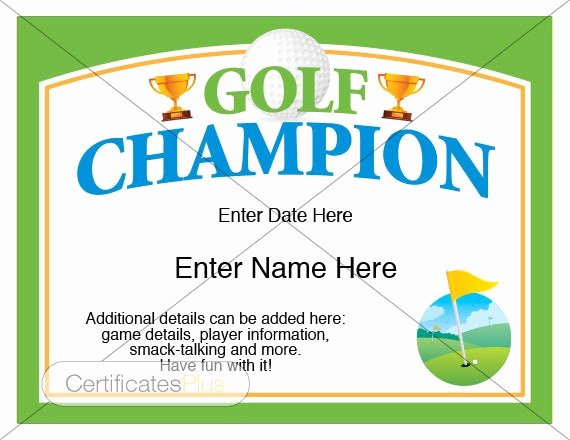 Golf Gift Certificate Template Free Awesome Golf Certificate Golf Award Template Golf Trophy