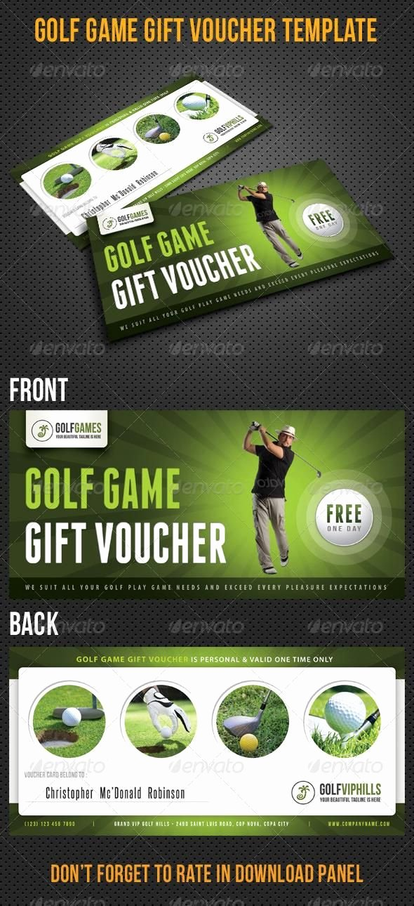 Golf Gift Certificate Template Free Awesome Golf Game Gift Voucher V13 Template Cards Print