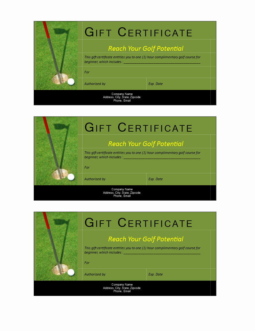 Golf Gift Certificate Template Free Awesome Golf Gift Non Cash Value Voucher Download This Free