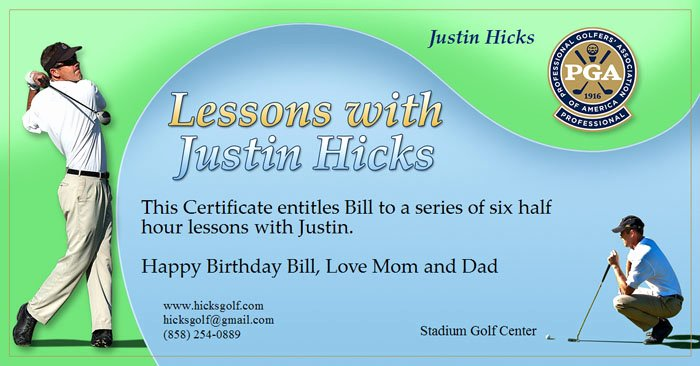Golf Gift Certificate Template Free Beautiful Gift Certificate Hicksgolf