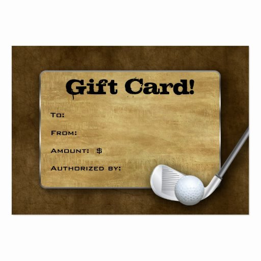 Golf Gift Certificate Template Free New Golf Gift Card Father S Day Brown Business Card