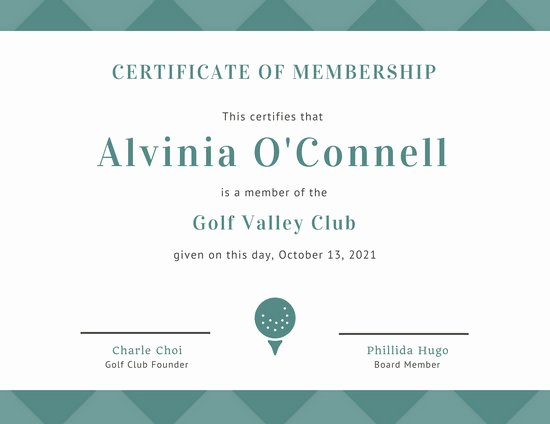 Golf Gift Certificate Template Free Unique Customize 64 Membership Certificate Templates Online Canva