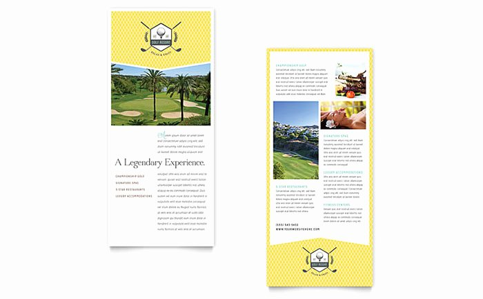 Golf Gift Certificate Template Lovely Golf Resort Rack Card Template Word & Publisher