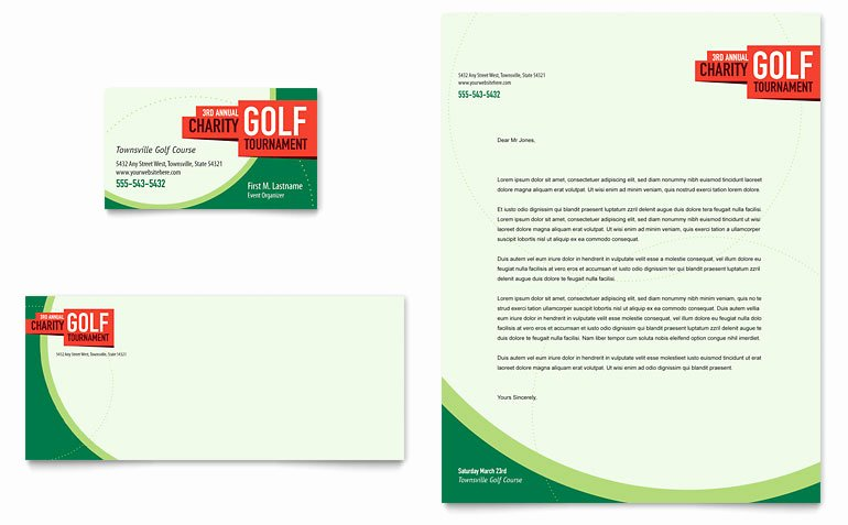 Golf Gift Certificate Template Lovely Golf tournament Business Card & Letterhead Template Word