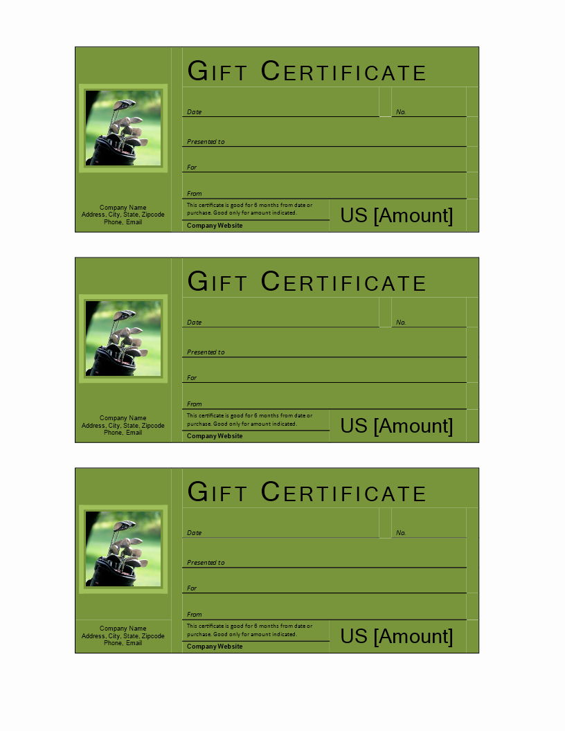 Golf Gift Certificate Template Unique Free Golf Gift Voucher