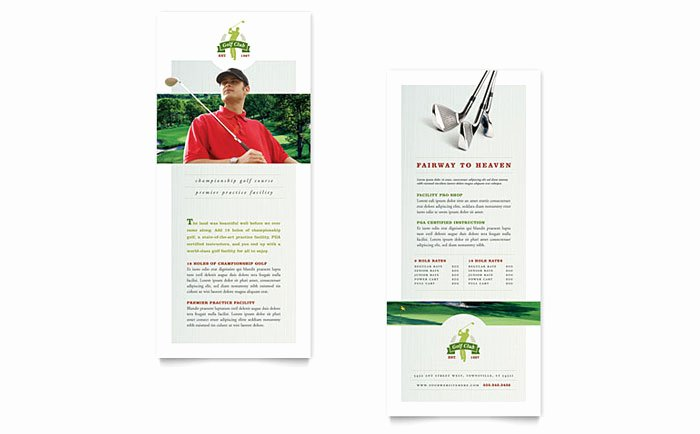 Golf Lesson Gift Certificate Template Fresh Golf Course & Instruction Rack Card Template Design