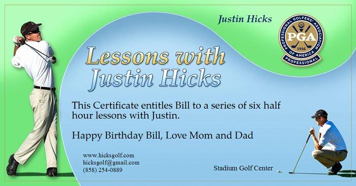 Golf Lesson Gift Certificate Template Inspirational Gift Certificate Hicksgolf