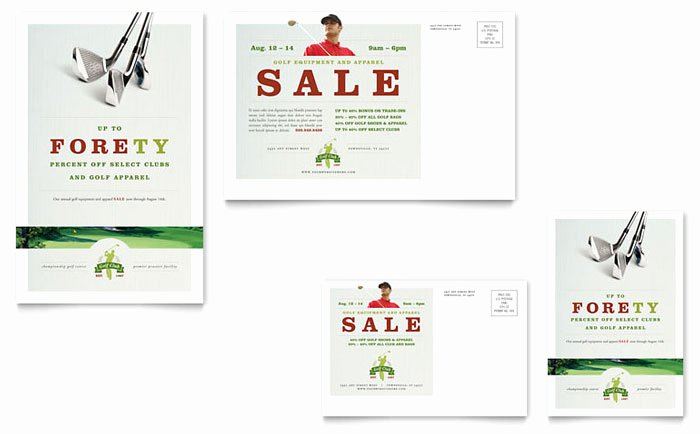Golf Lesson Gift Certificate Template Inspirational Golf Course & Instruction Postcard Template Design