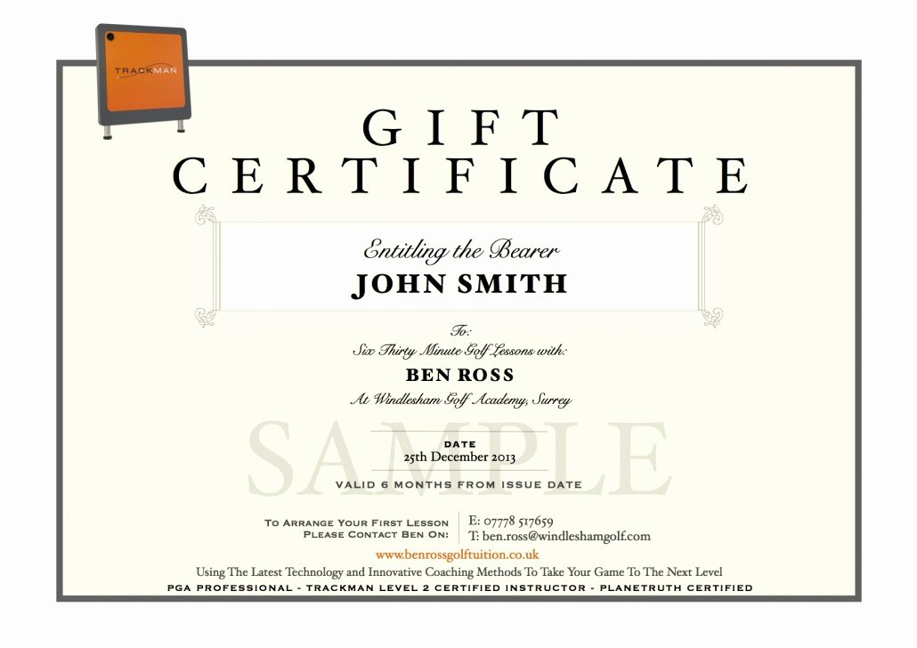 Golf Lesson Gift Certificate Template Lovely Ben Ross Golf Tuition