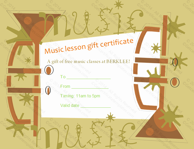 Golf Lesson Gift Certificate Template Lovely Trumpet themed Gift Certificate Template