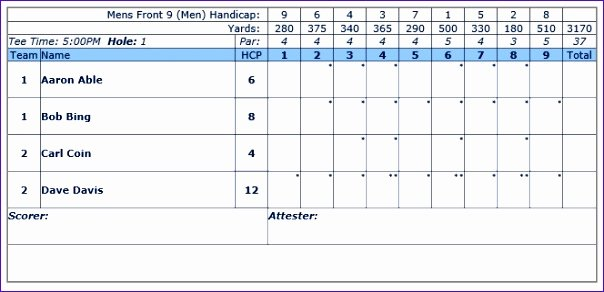 Golf Scorecard Template Word Luxury 6 Golf Scorecard Template Excel Exceltemplates