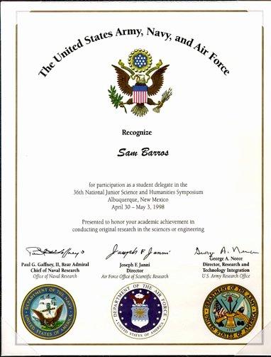 Good Samaritan Award Certificates Elegant Sam S Science Awards Page