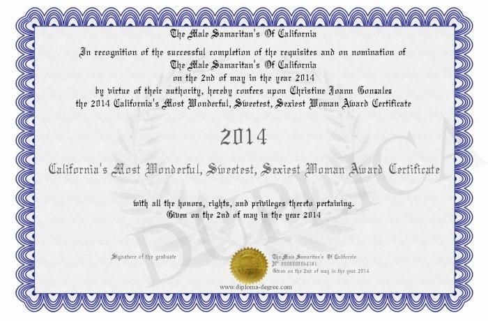 2014 California s Most Wonderful Sweetest iest Woman Award Certificate