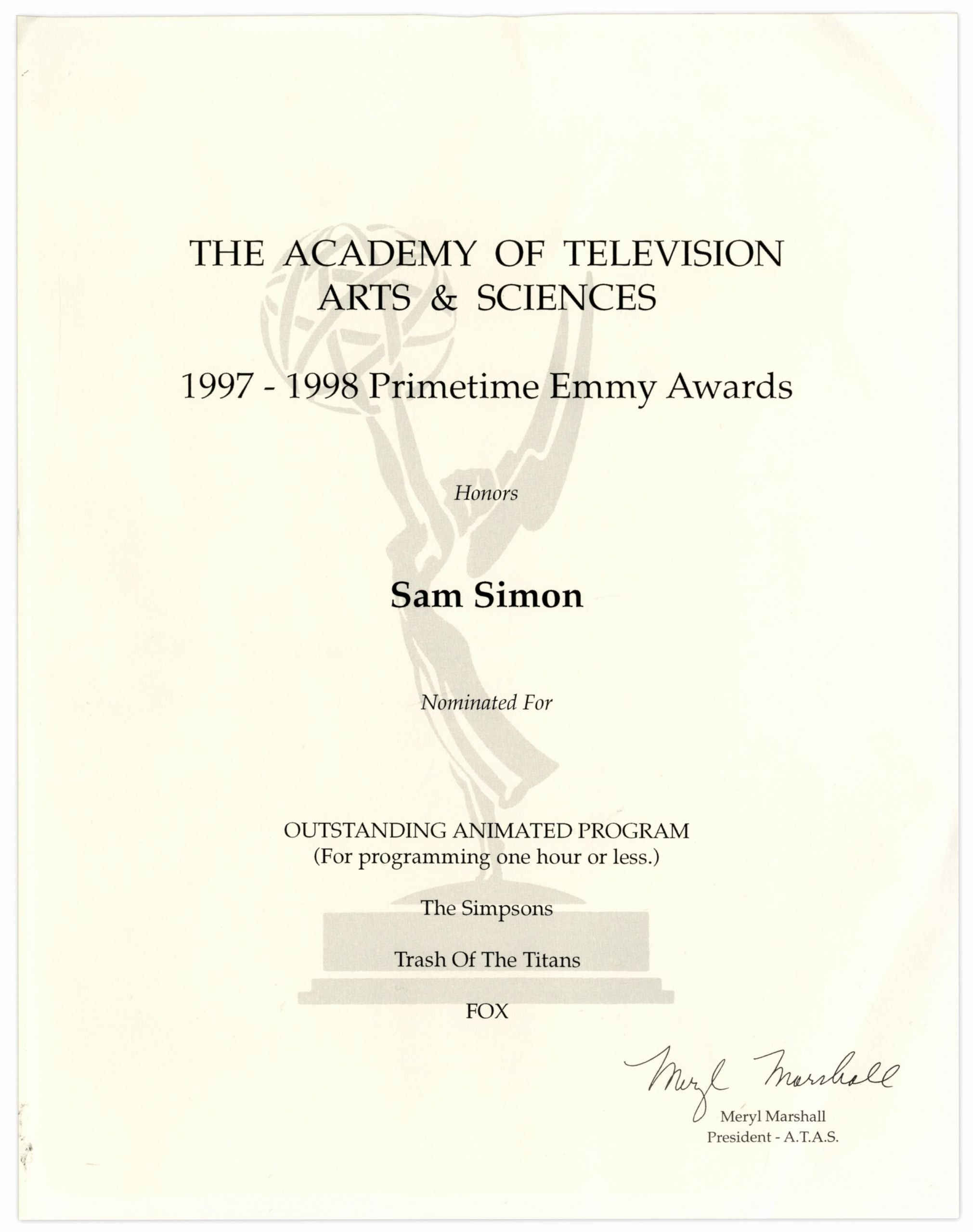 Good Samaritan Award Certificates Unique Lot Detail Emmy Nomination Certificate for the