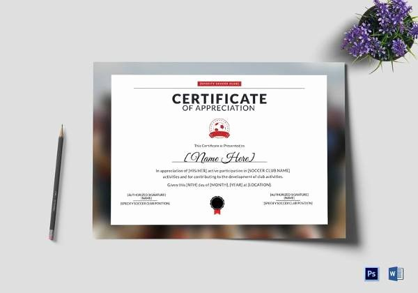 Google Docs Certificate Of Appreciation New soccer Certificate Template 18 Psd Ai Indesign Word