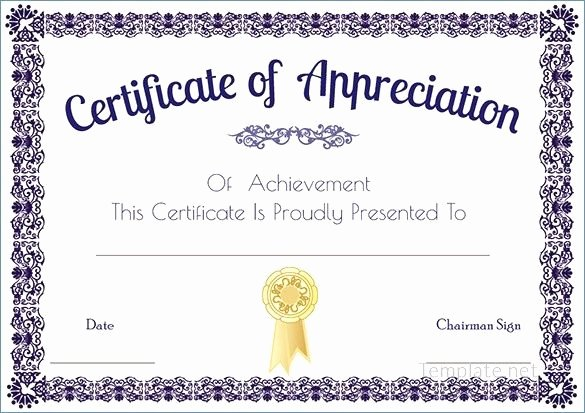 Google Docs Certificate Of Appreciation Unique Best Templates Certificate Recognition Templates In Word